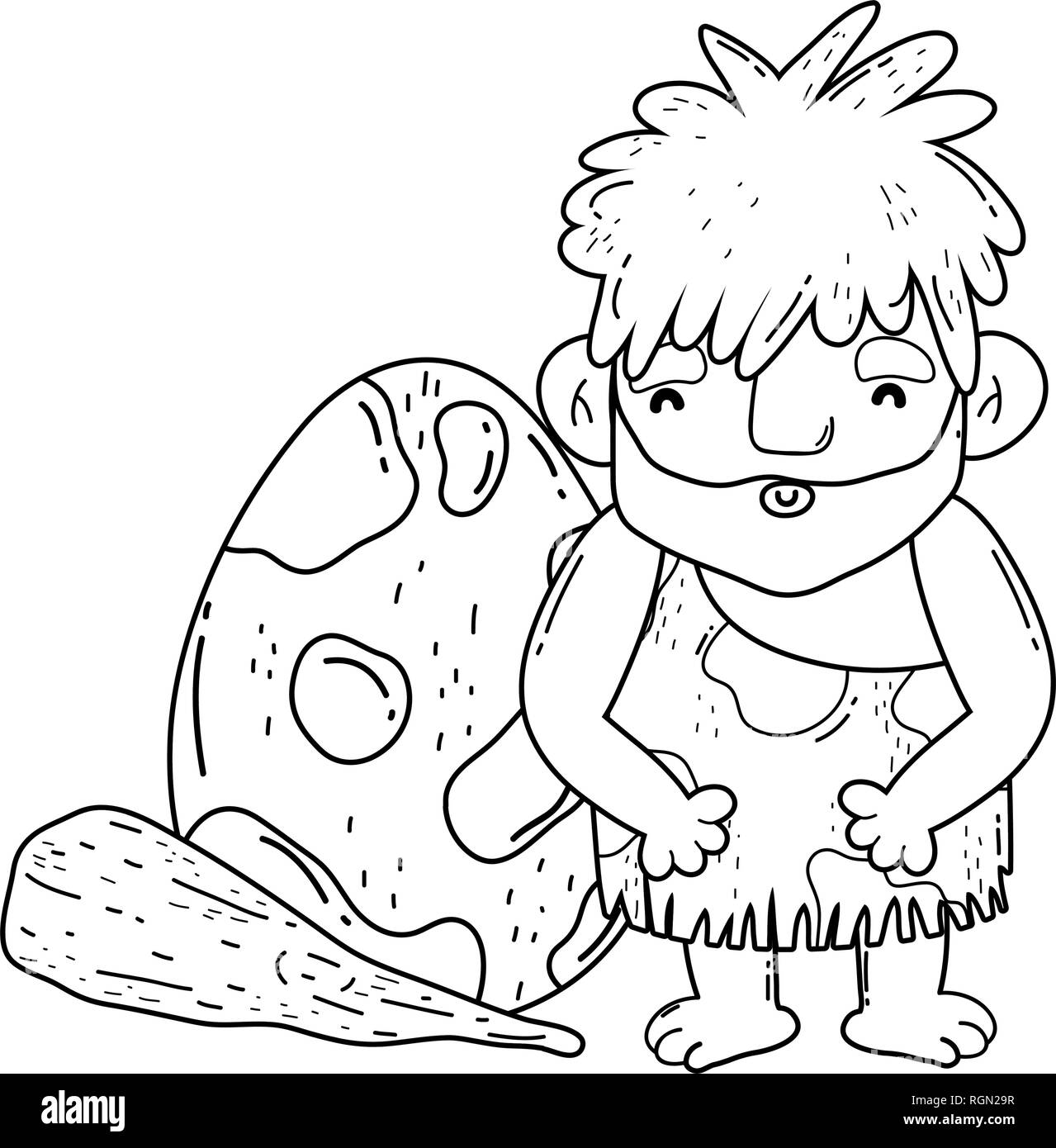 caveman with bludgeon and dinosaur egg - Stock Image