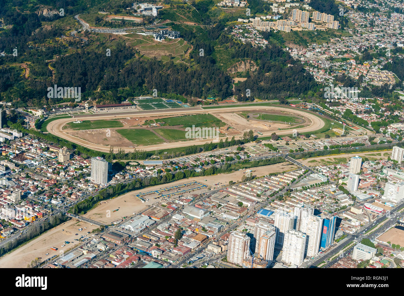 Valparaiso Sporting (formerly known as Valparaiso Sporting Club), commonly known as the Sporting, is a thoroughbred flat horse race track in Viña del  - Stock Image