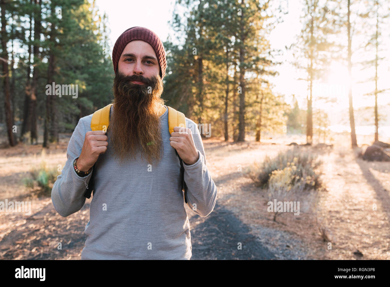 USA, North California, portrait of bearded man in a forest near Lassen Volcanic National Park - Stock Image