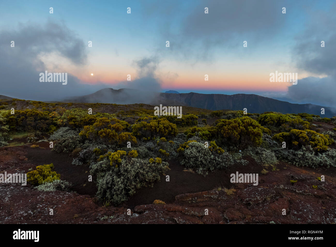 Reunion, Reunion National Park Piton de la Fournaise, full moon - Stock Image