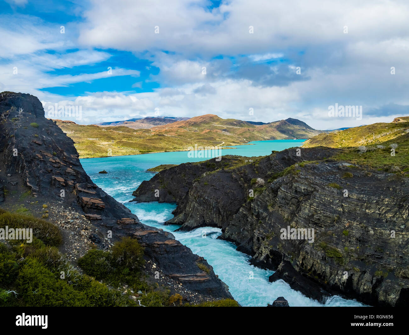 South America, Chile, Patagonia, View to Rio Paine, Torres del Paine National Park - Stock Image