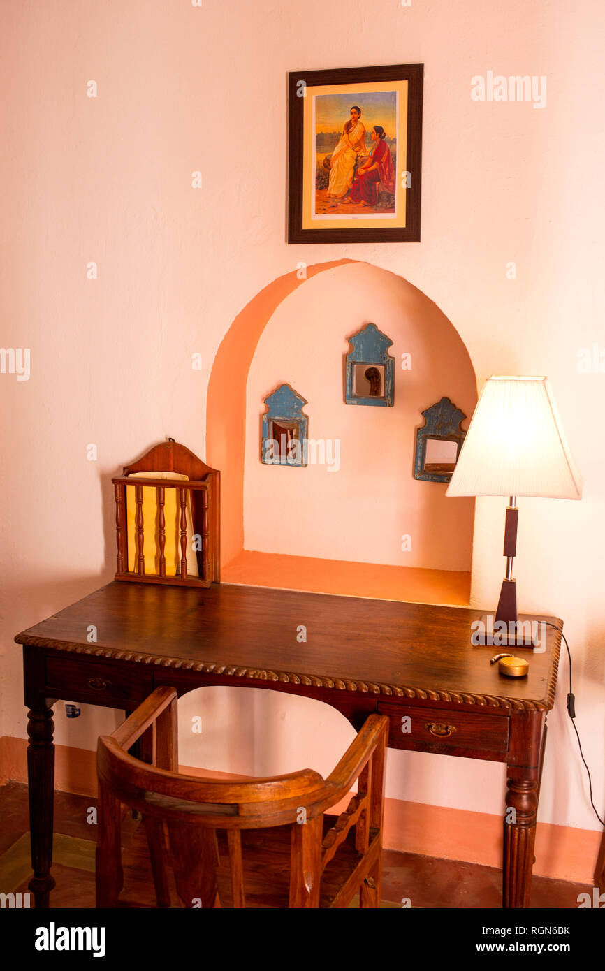 India, Rajasthan, Alwar, Heritage Hotel Ram Bihari Palace, old wooden furniture - Stock Image