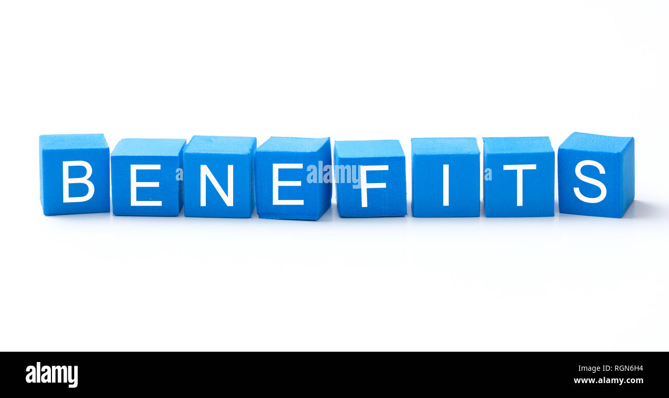 Benefits word on blue color cubes - Stock Image