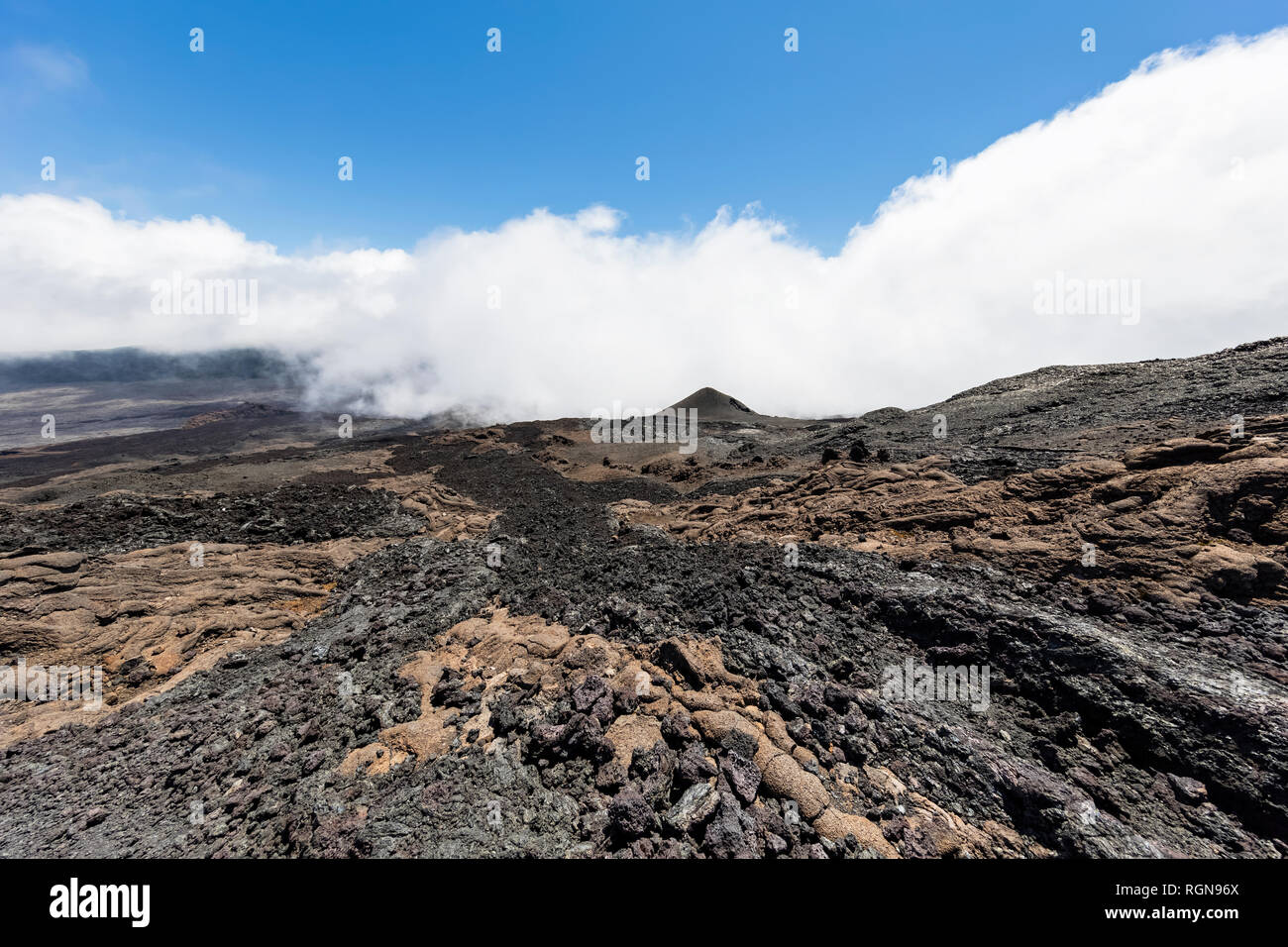 Reunion, Reunion National Park, Shield Volcano Piton de la Fournaise, Caldera Enclos Fouque and Rempart, lava field, AA lava over pahoehoe lava - Stock Image