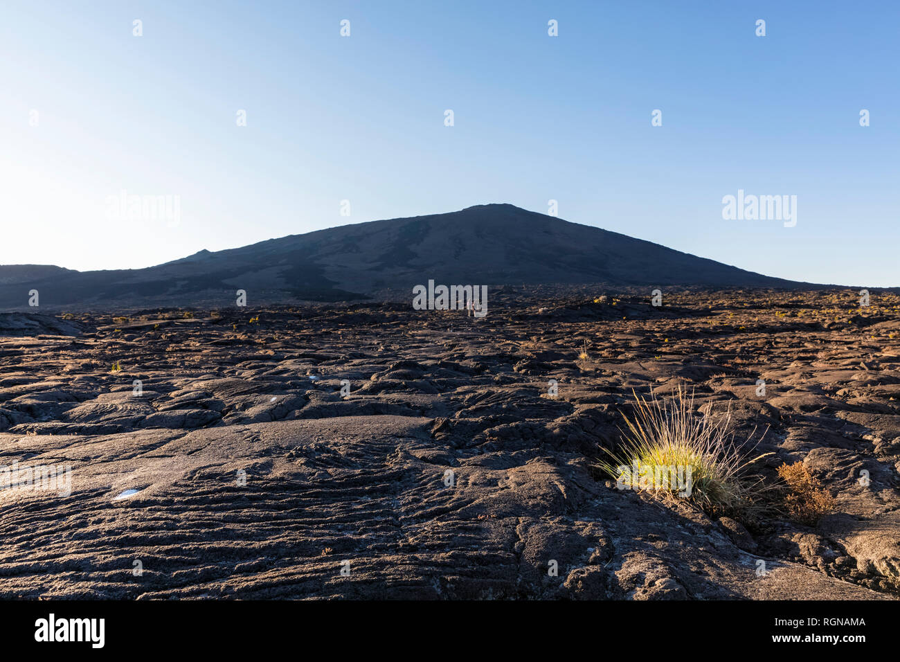 Reunion, Reunion National Park, Shield Volcano Piton de la Fournaise, Caldera Enclos Fouque and Rempart, lava field, Tourists in lava field, AA lava over pahoehoe lava - Stock Image