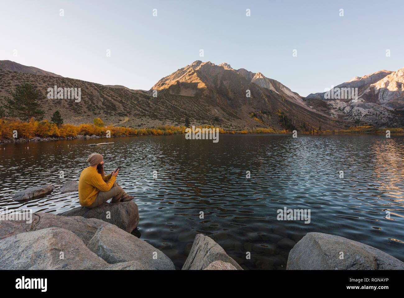 USA, California, Yosemite National Park, Mammoth lakes, hiker using smartphone at Convict Lake - Stock Image