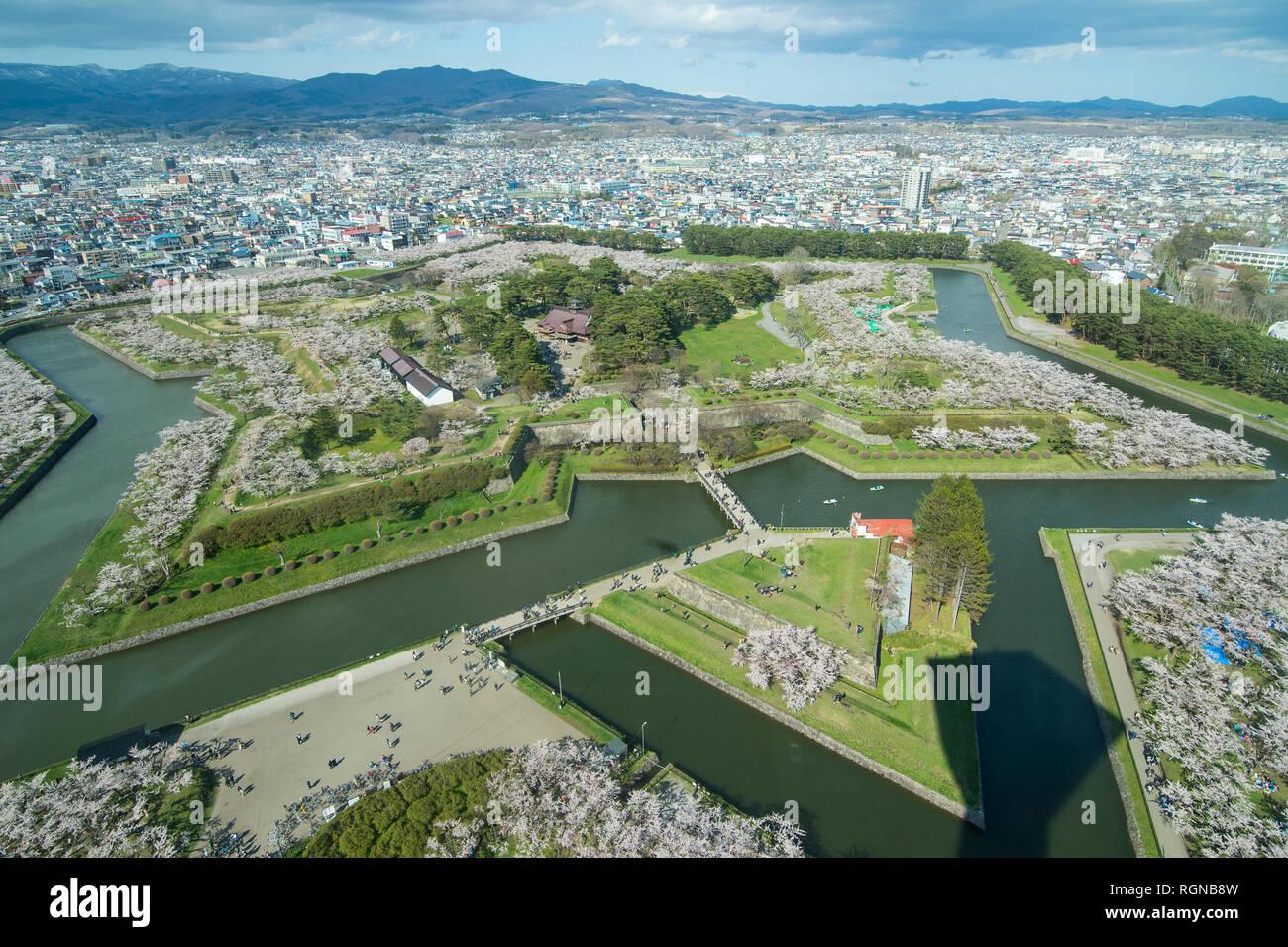 Japan, Hokkaido, Hakodate, Fort Goryokaku, star shaped - Stock Image