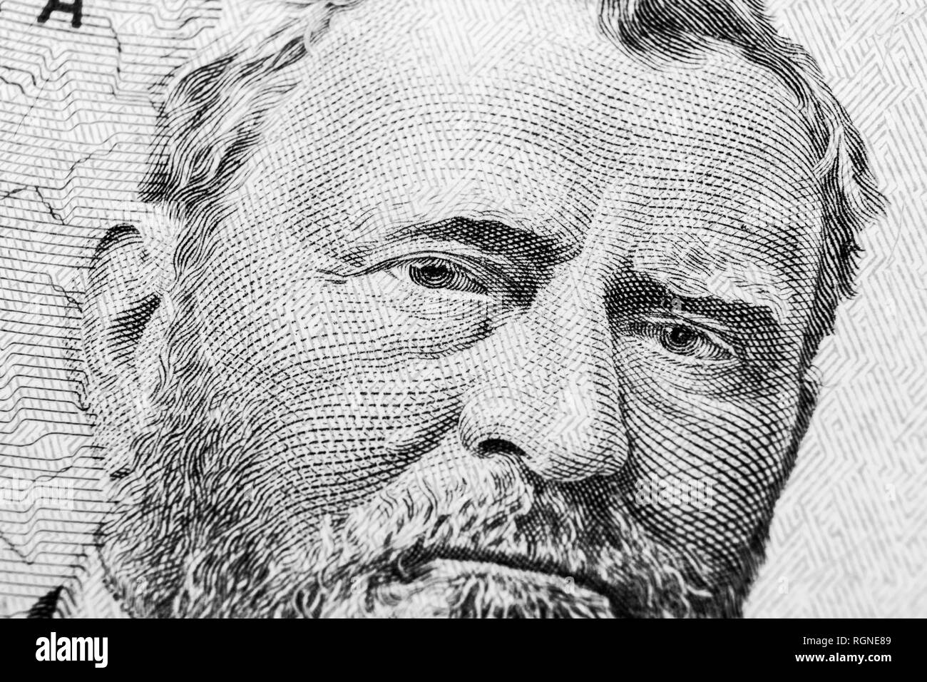 1d876a38db39 Close up view Portrait of Ulysses S. Grant on the one fifty dollar bill.
