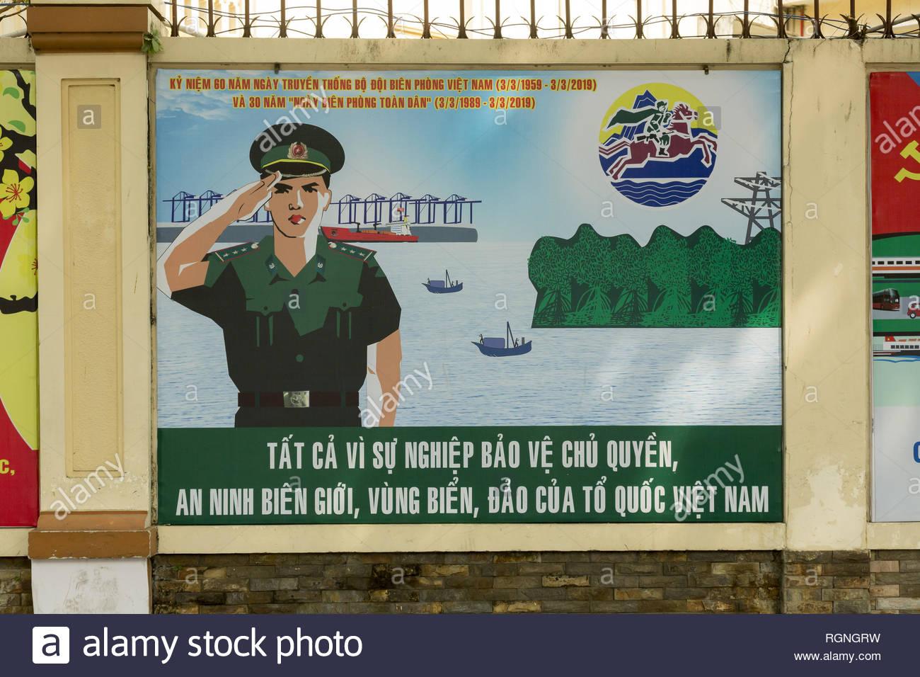 Propganda bilboards in Ho Chi Minh, Vietnam - Stock Image