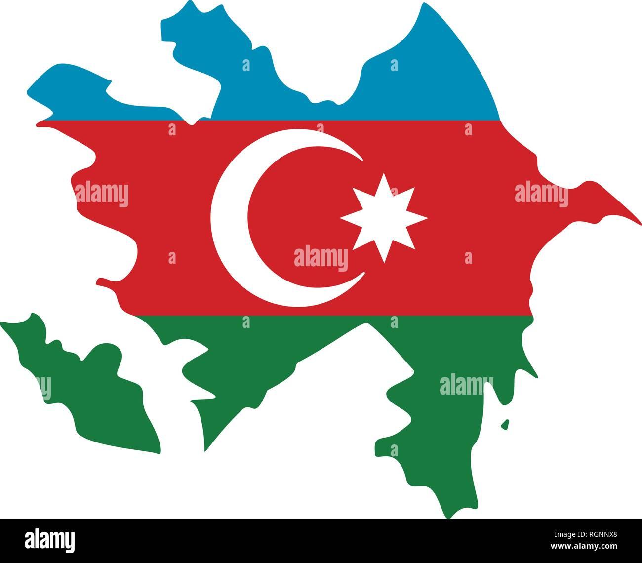Map Of Azerbaijan With Flag Inside Azerbaijan Map Vector Illustration Stock Vector Image Art Alamy