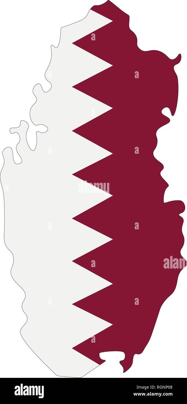 Map of Qatar with flag inside. Qatar map vector illustration ...