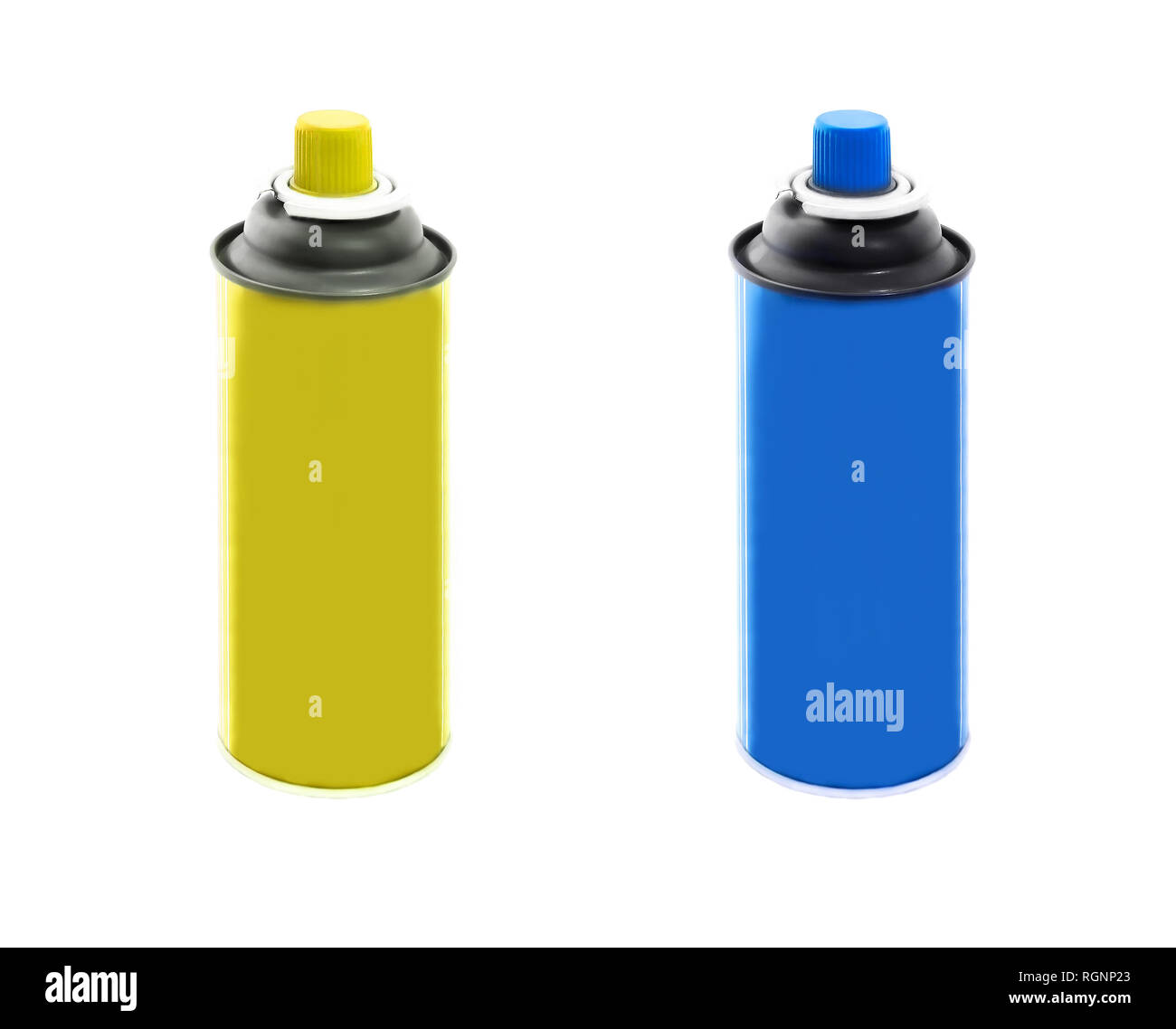Set of blue and yellow plastic containers isolated on white background - Stock Image