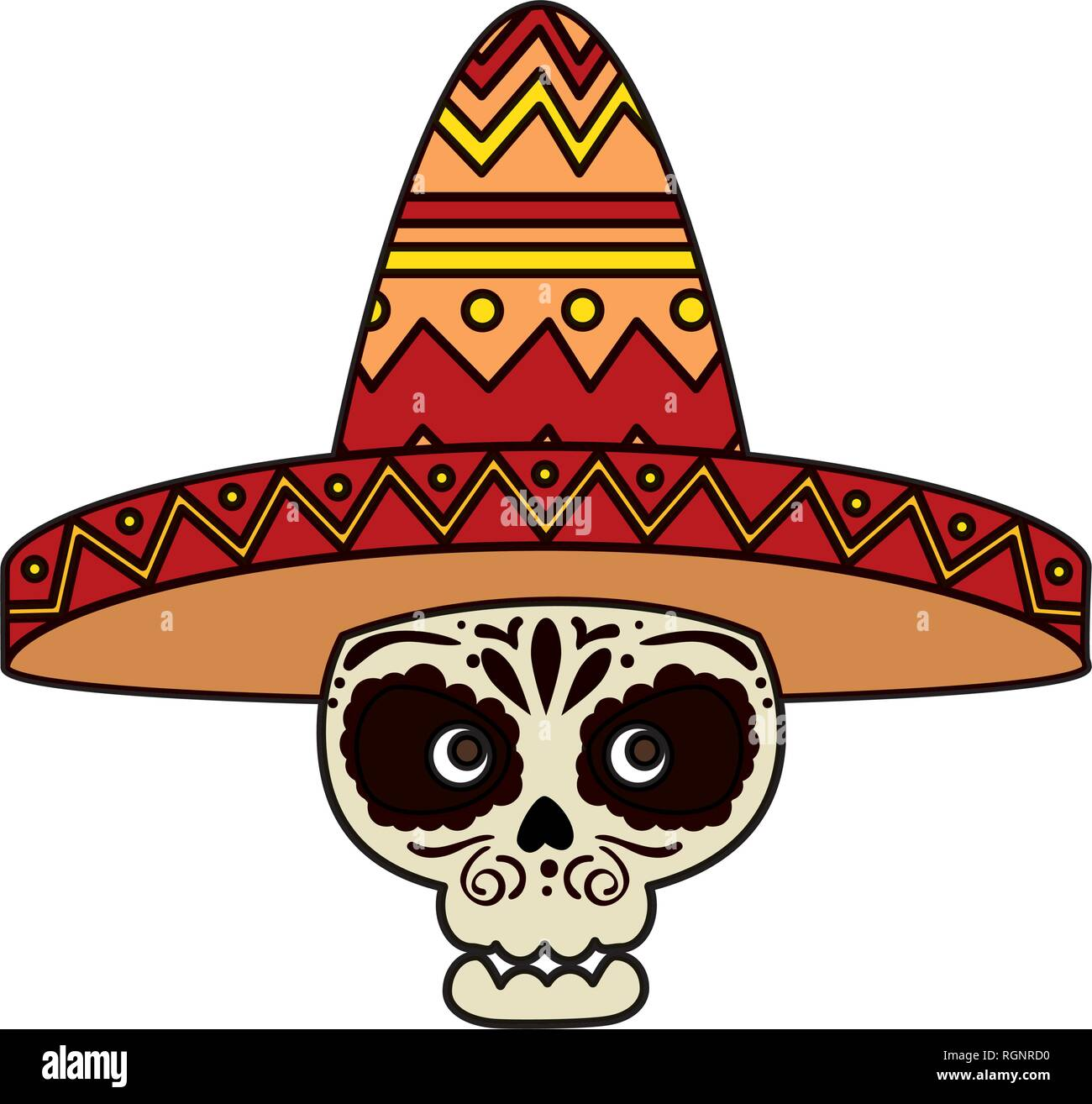 341fe78d4b44 death day mask with mariachi hat Stock Vector Art   Illustration ...