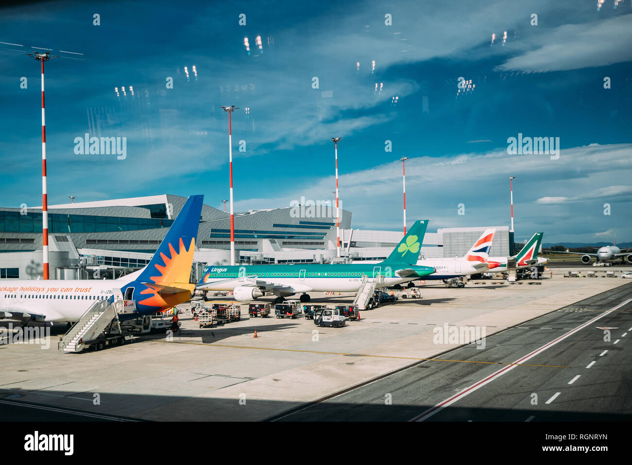 Fiumicino, Italy - October 22, 2018: Aircrafts Planes Of Different Airlines Stand At Rome–Fiumicino International Airport 'Leonardo Da Vinci' In Autum - Stock Image