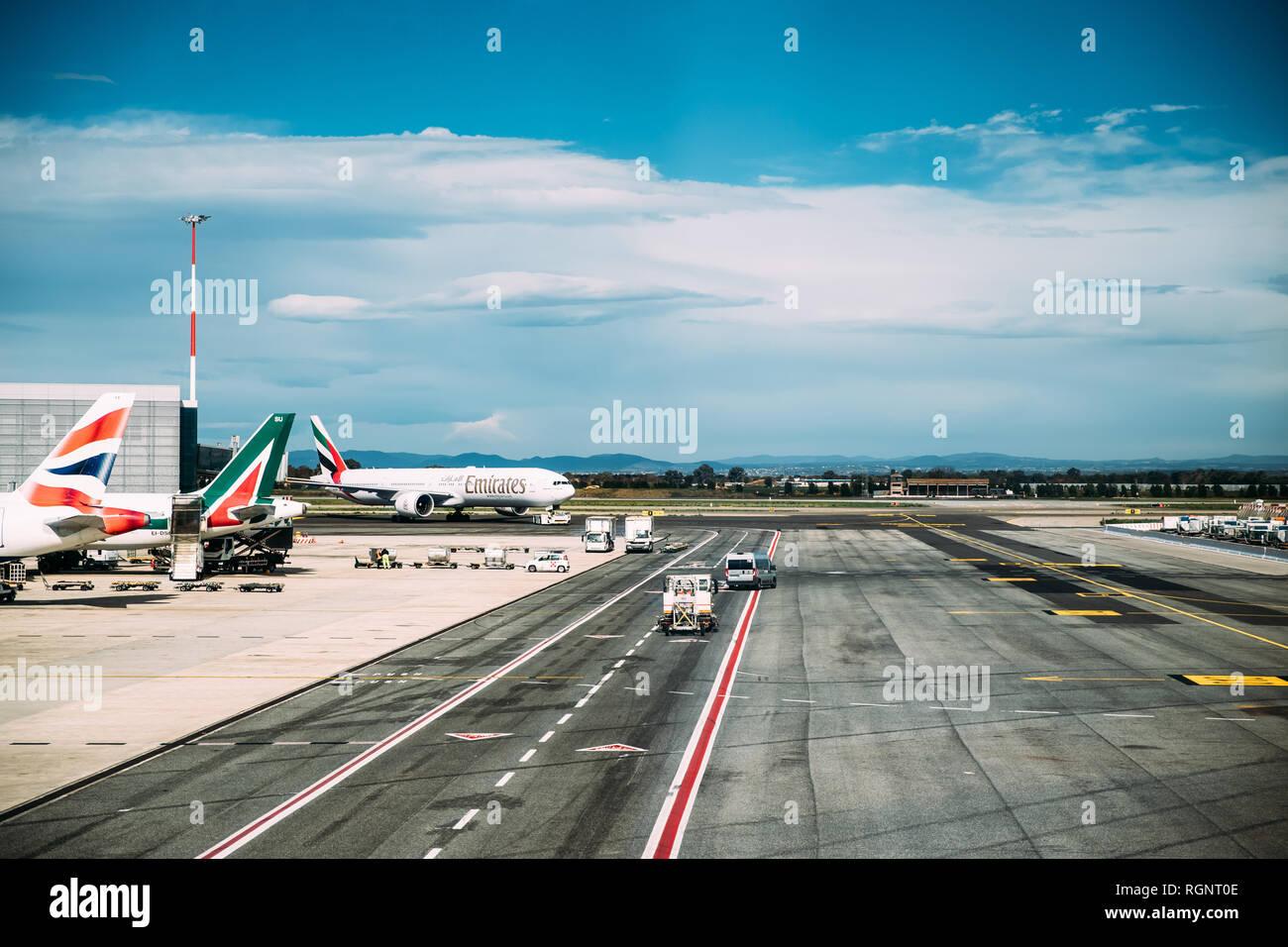 Fiumicino, Italy - October 22, 2018: Aircraft Plane Of Emirates Airlines Stand At Rome–Fiumicino International Airport 'Leonardo Da Vinci' In Autumn D - Stock Image