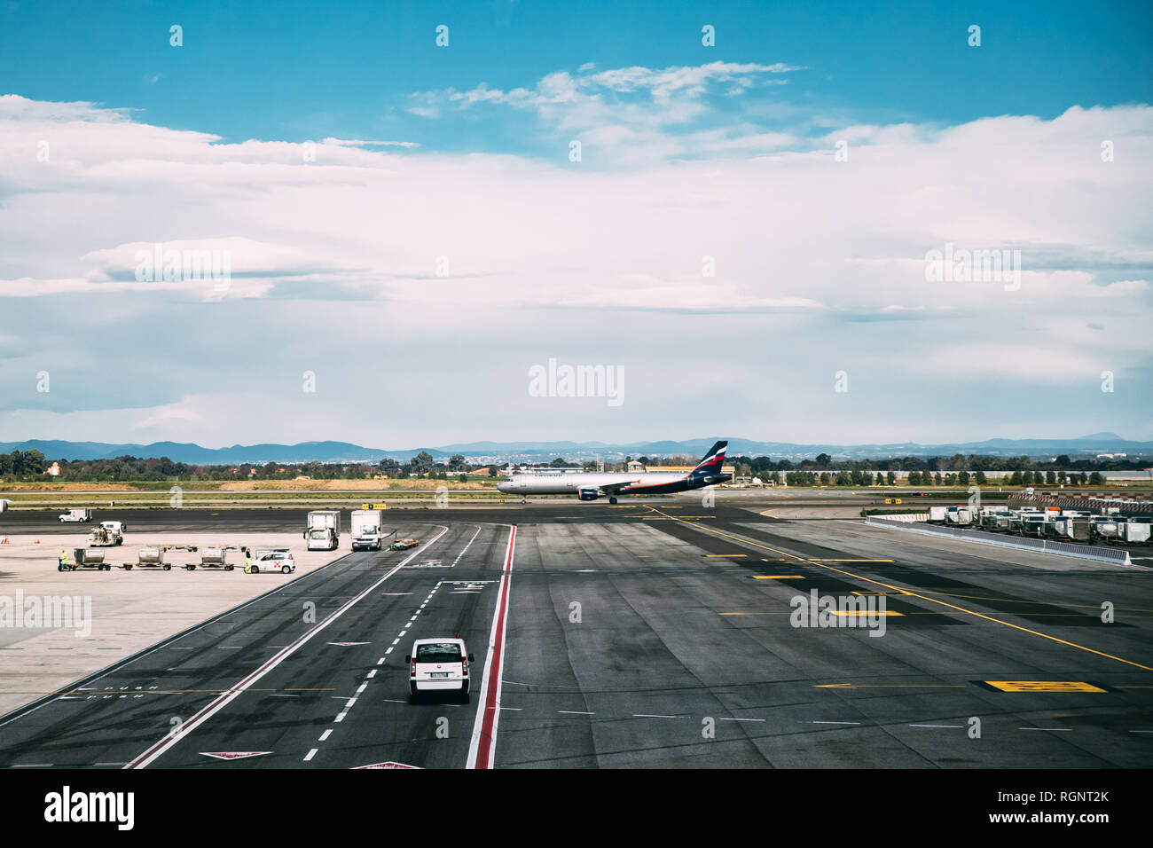 Rome, Italy - October 22, 2018: Aircraft Plane Stand On Runway At Rome–Fiumicino International Airport 'Leonardo Da Vinci' In Autumn Day - Stock Image