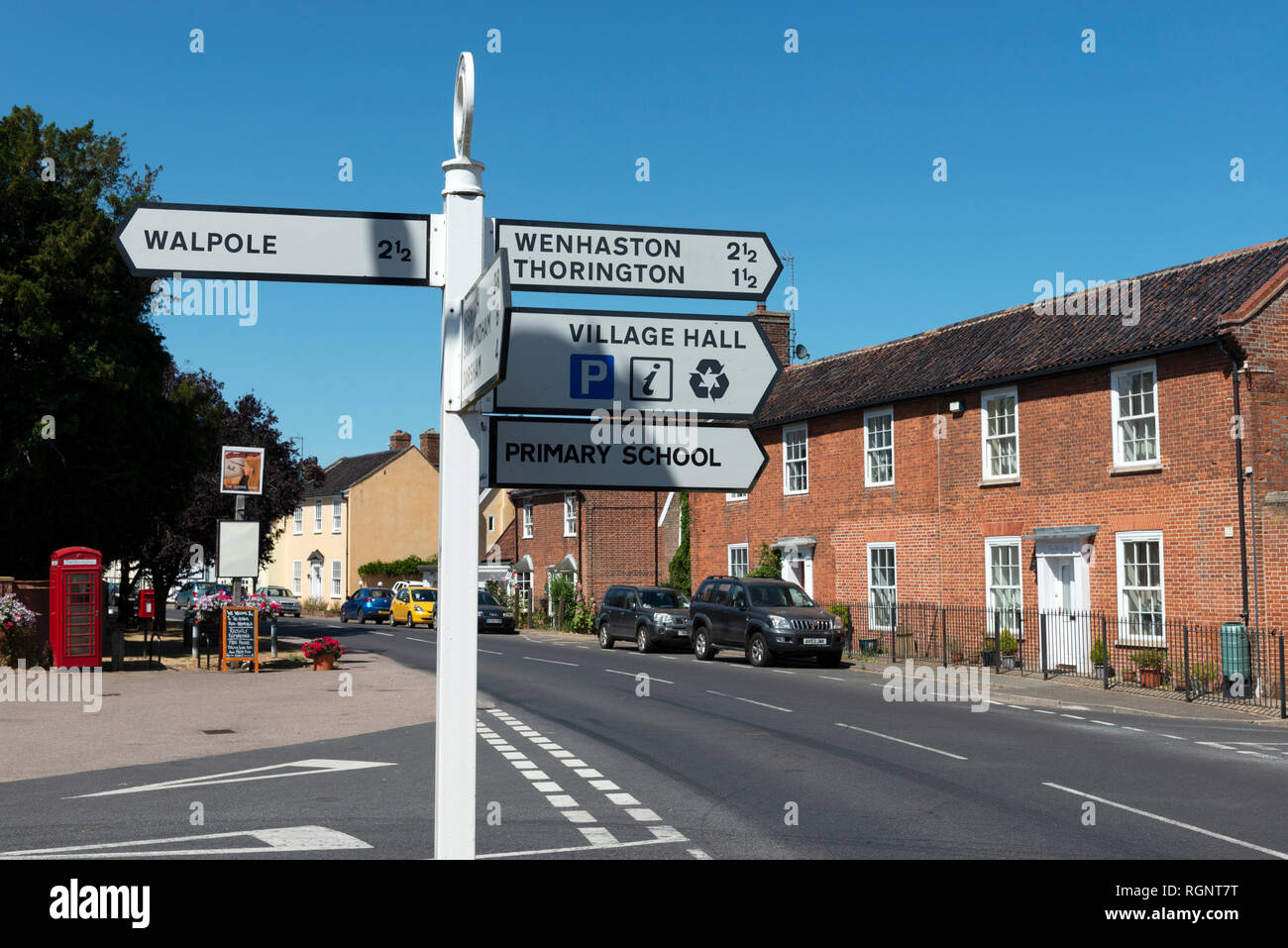 Road junction, Bramfield, Suffolk, England. - Stock Image
