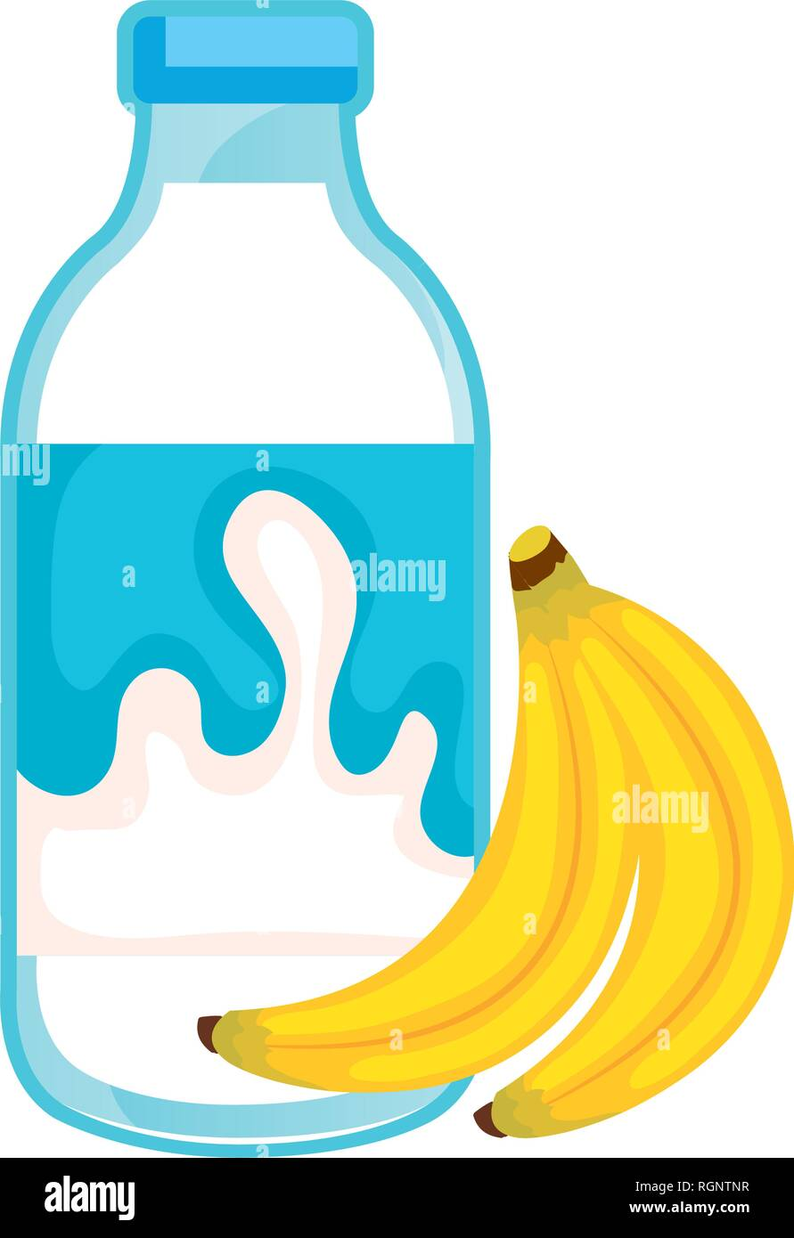 delicious milk bottle with bananas - Stock Image