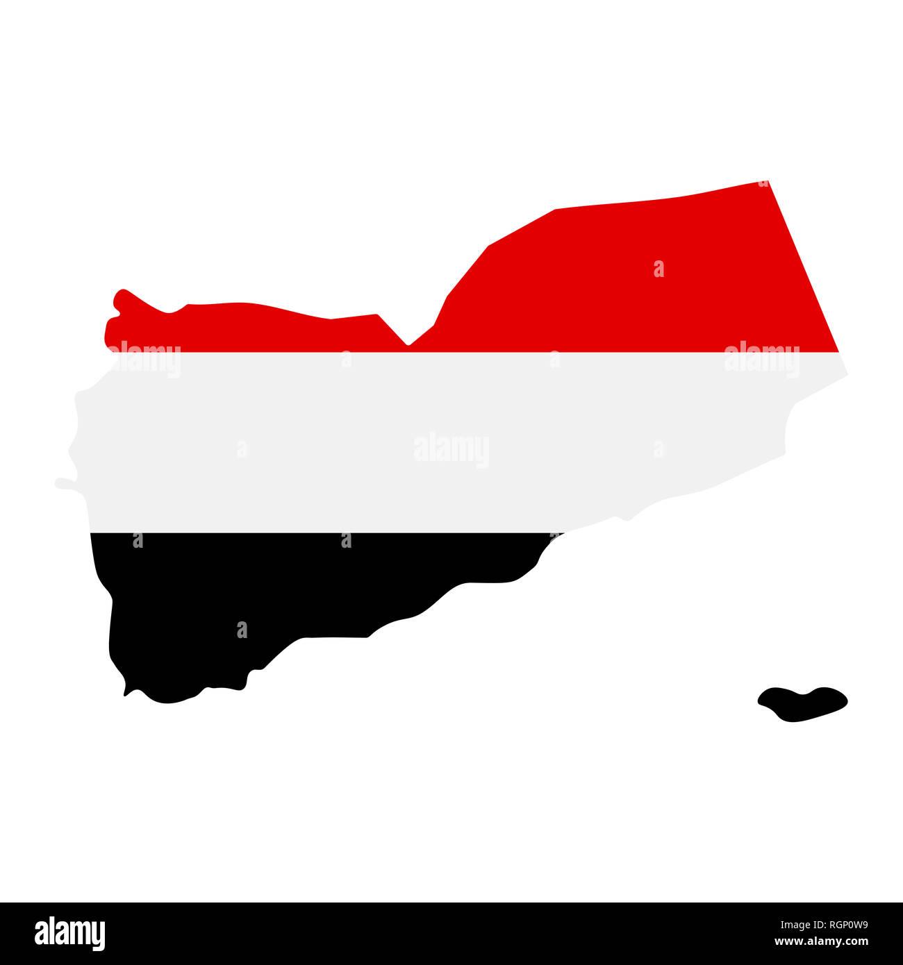 map of Yemen with flag inside. Yemen map  illustration - Stock Image