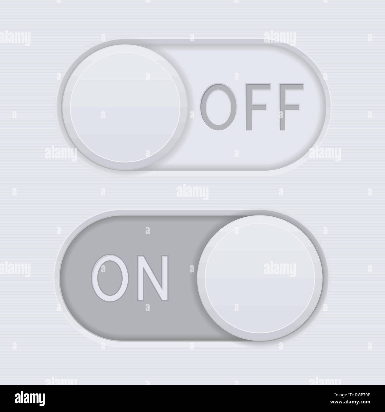 Toggle switch buttons. On and Off - Stock Image