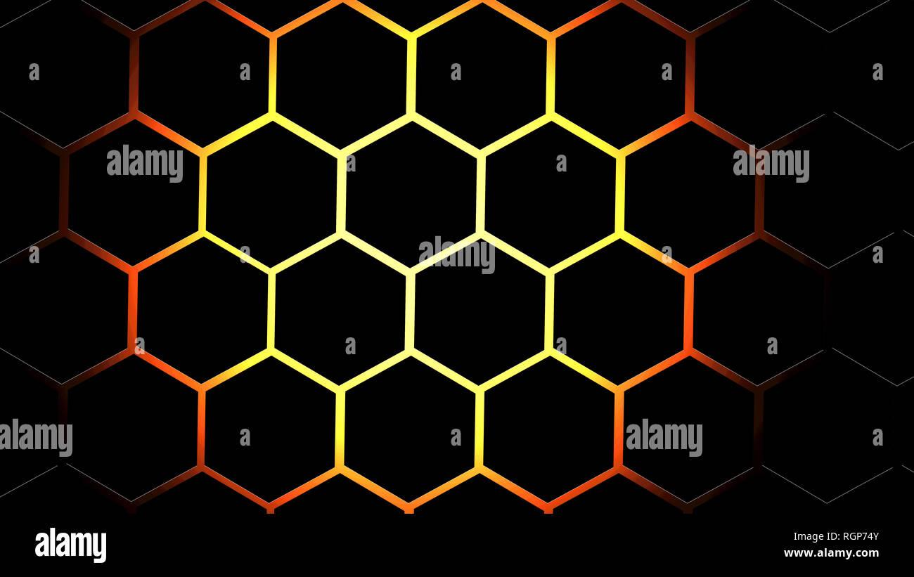 Beehive Black Honeycomb Red Hexagon Fire Brick Pattern