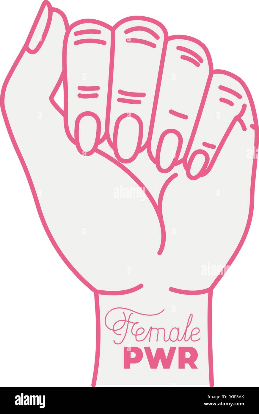 girl power label with hand in fight signal icons - Stock Image