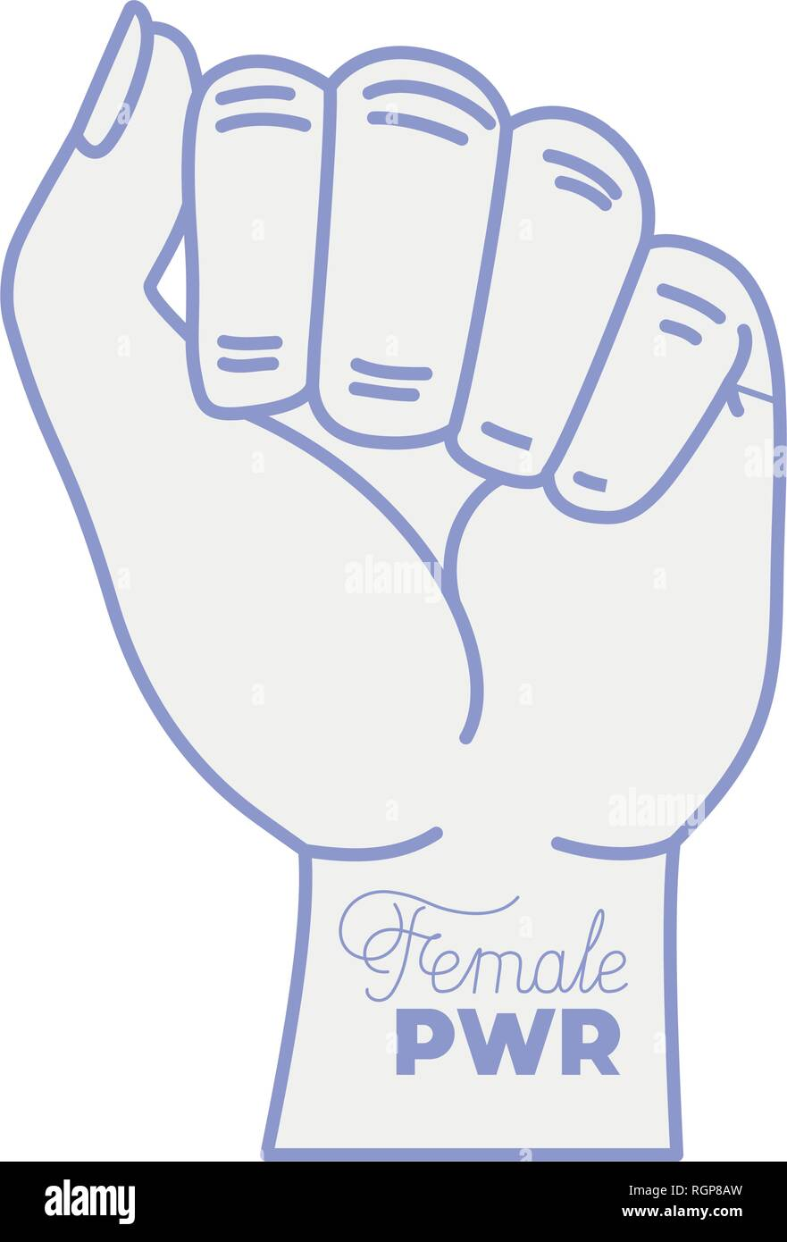 female power label with hand in fight signal icons - Stock Image