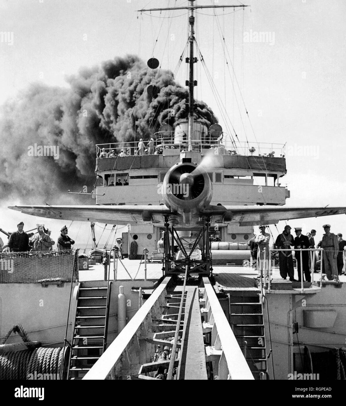 airplane on a flagship, 1947 - Stock Image