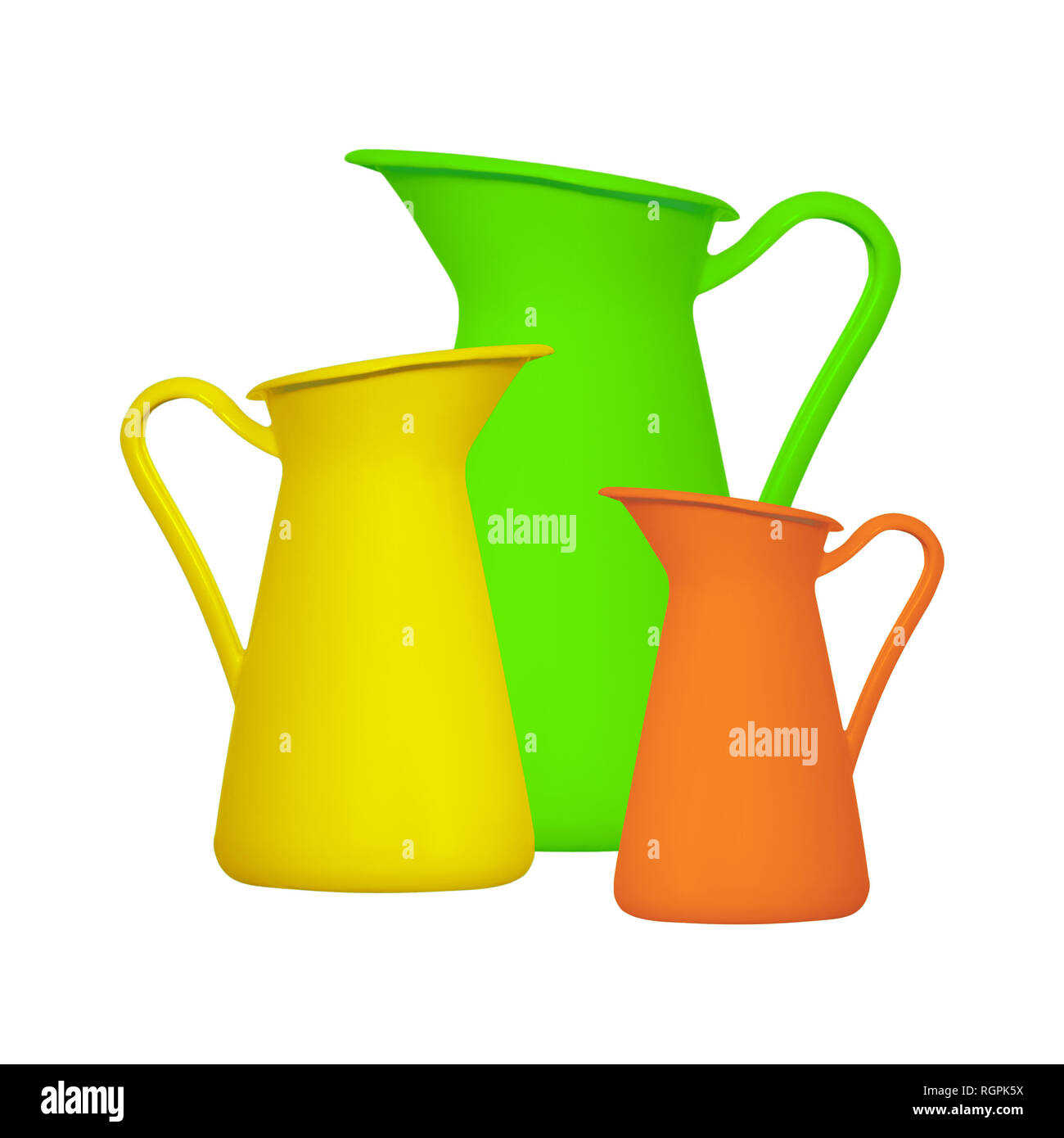 Storage for liquids - Green orange and yellow jug ewer on a white background. Isolated Stock Photo
