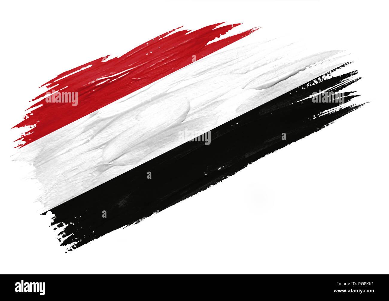 Brush painted Yemen flag. Hand drawn style illustration - Stock Image