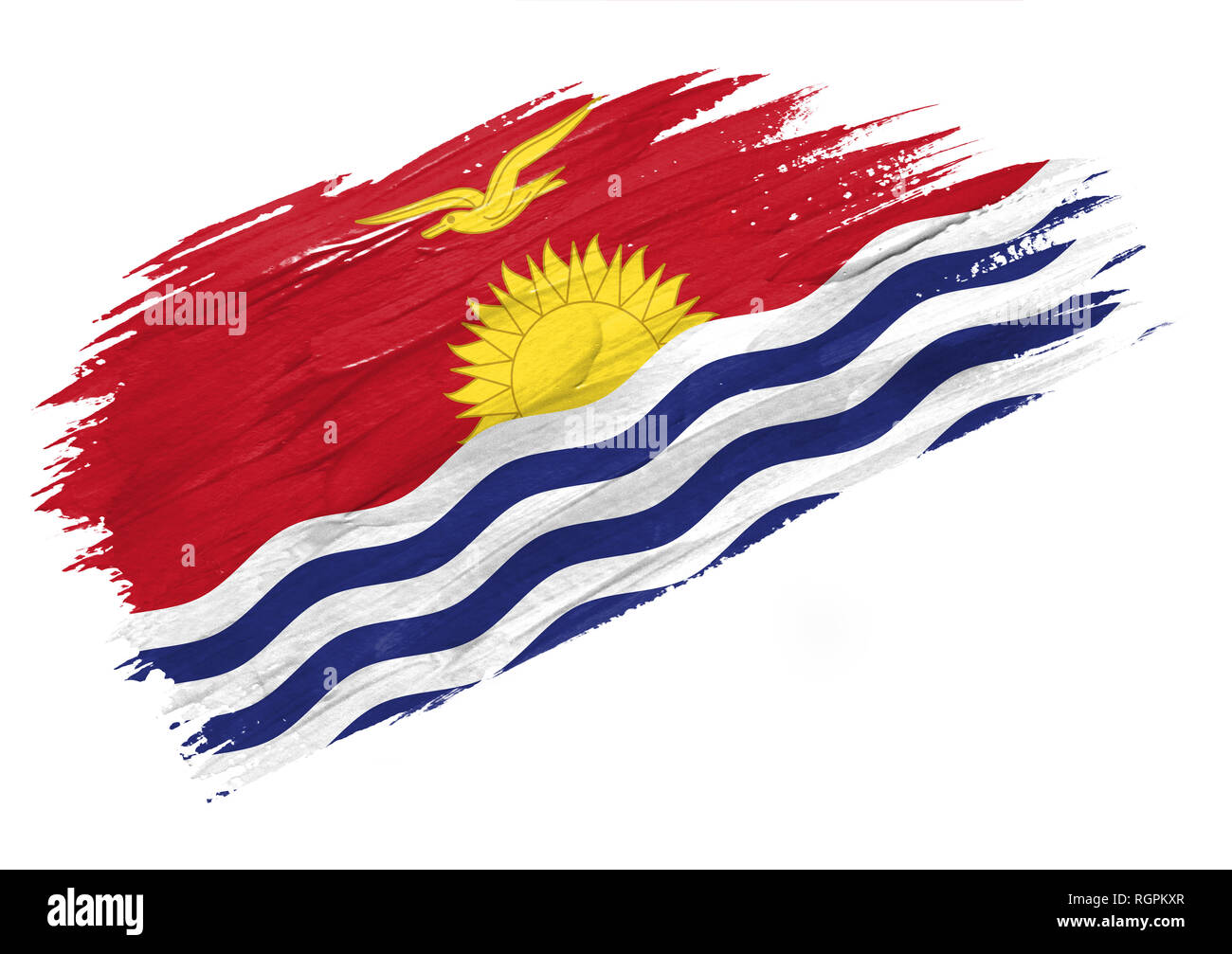 Brush painted Kiribati flag. Hand drawn style illustration - Stock Image