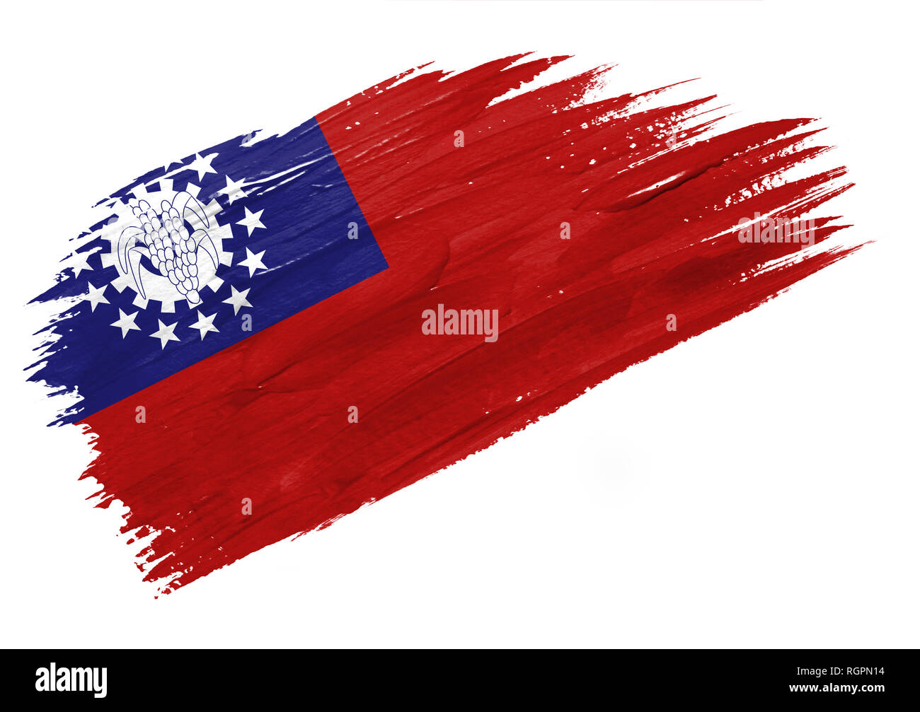 Brush painted Myanmar Burma flag. Hand drawn style illustration - Stock Image