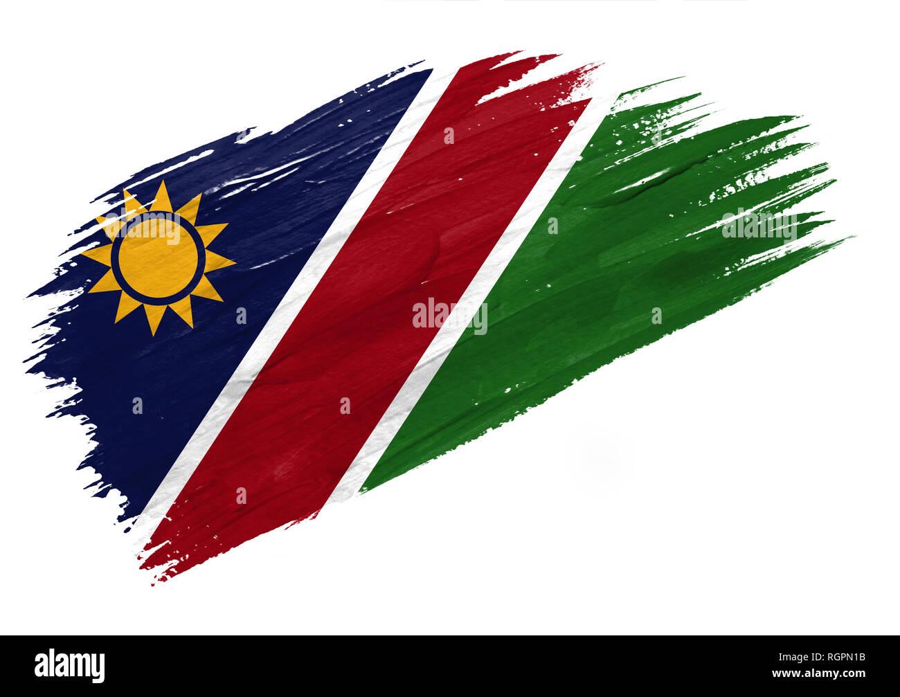 Brush painted Namibia flag. Hand drawn style illustration - Stock Image
