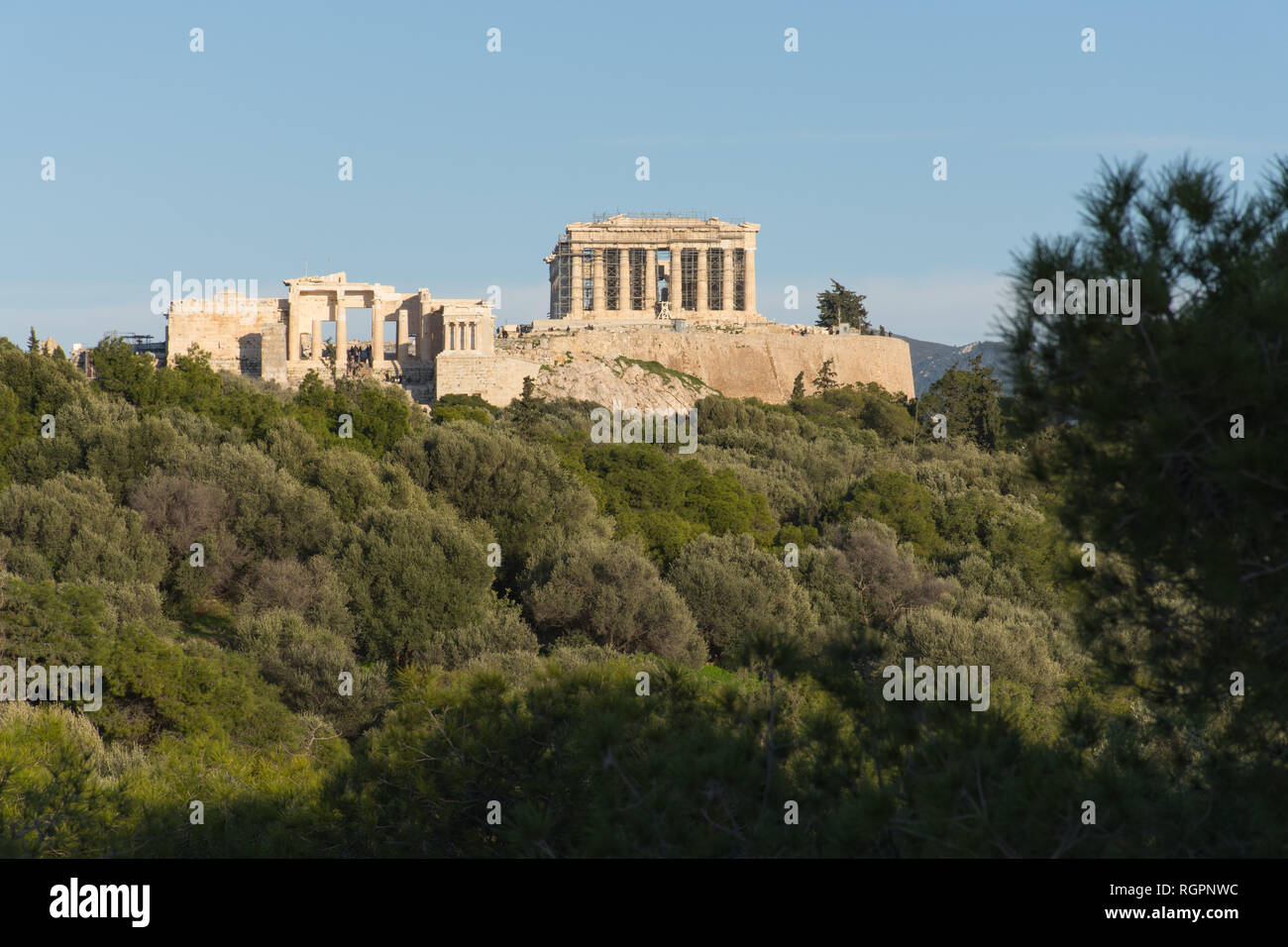 The Acropolis in Athens from Philopapou Hill - Stock Image