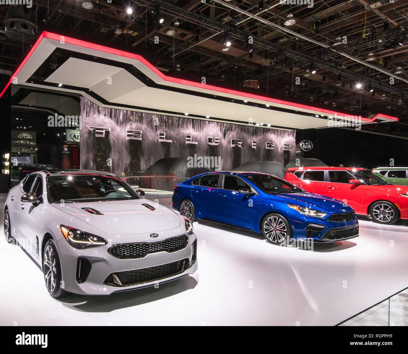 DETROIT, MI/USA - JANUARY 14, 2019: A 2019 Kia Stinger GT, Kia Forte GT and Kia Soul GT at the North American International Auto Show (NAIAS). - Stock Image