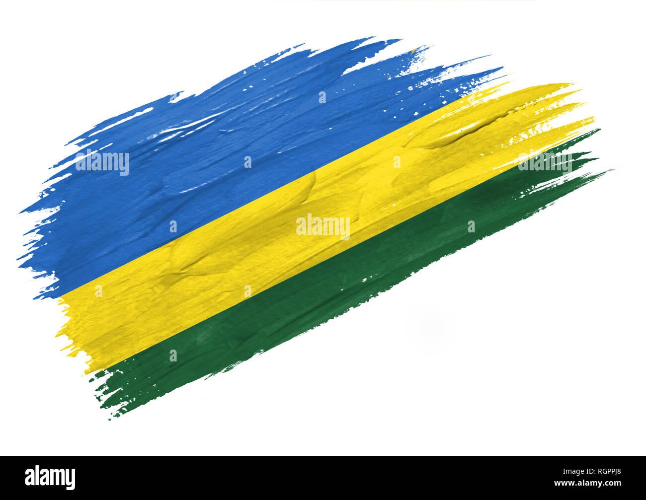 Brush painted Rwanda flag. Hand drawn style illustration - Stock Image