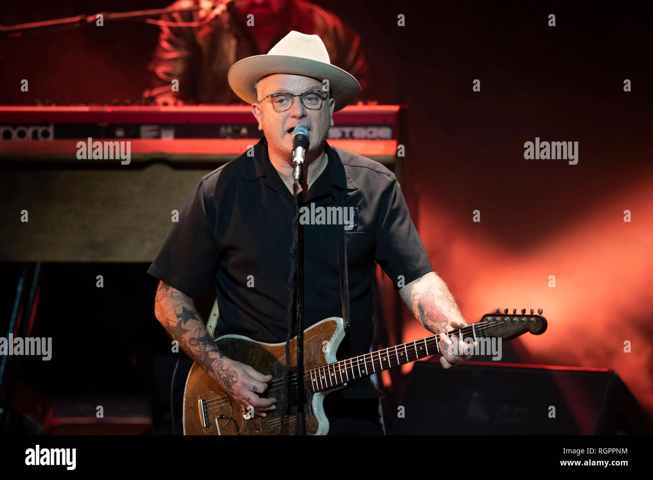 Singer Sanseverino on stage on the occasion of the Monte-Carlo Jazz Festival in Monaco, on 2018/11/23 Stock Photo