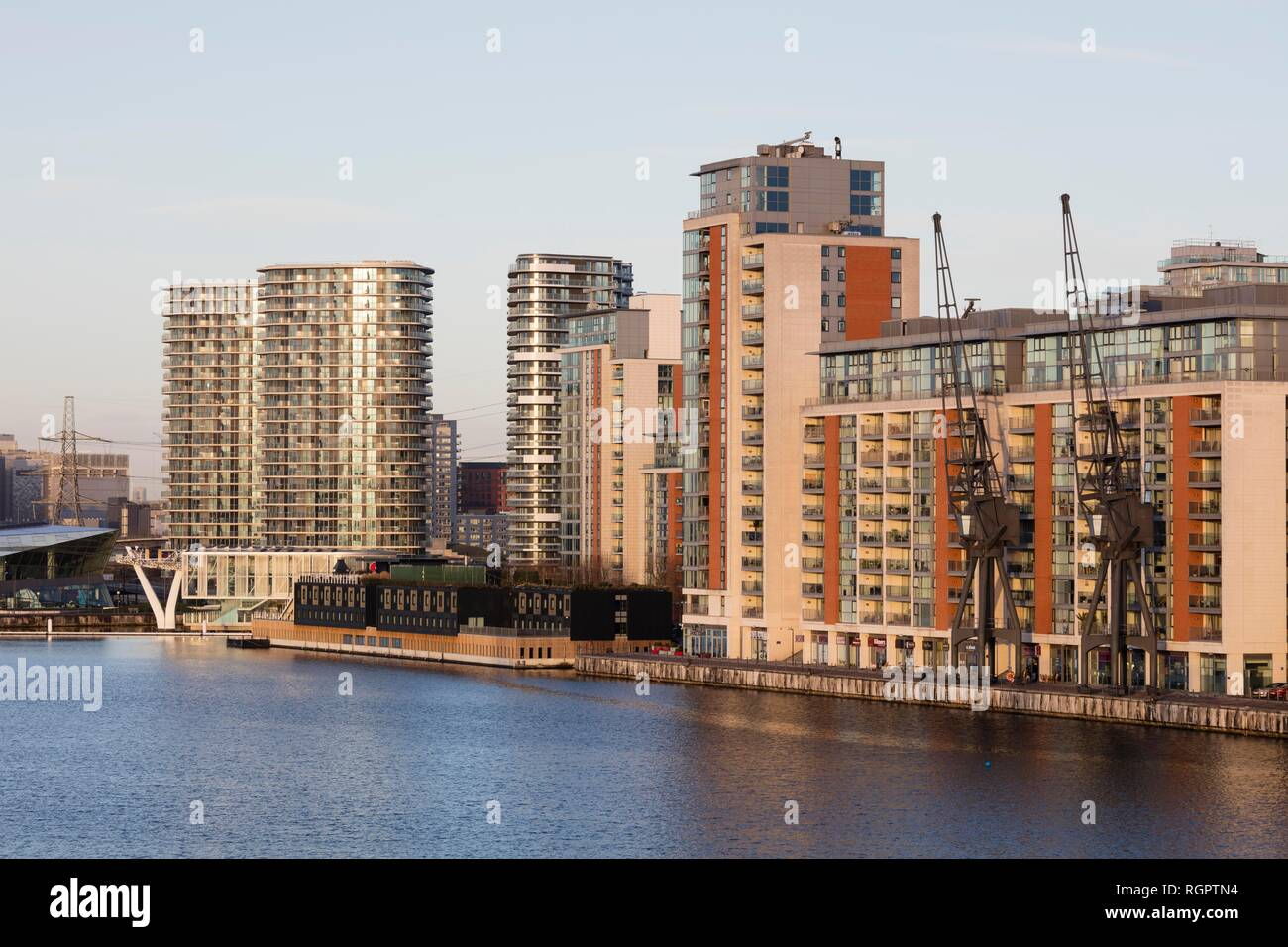Modern residential and office buildings, Docklands, London, England, United Kingdom - Stock Image