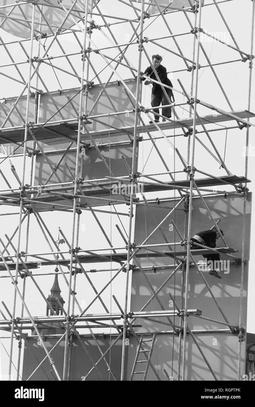 Propaganda, scaffolding for the attachment of a slogan, 1959, Leipzig, Saxony, GDR, Germany - Stock Image