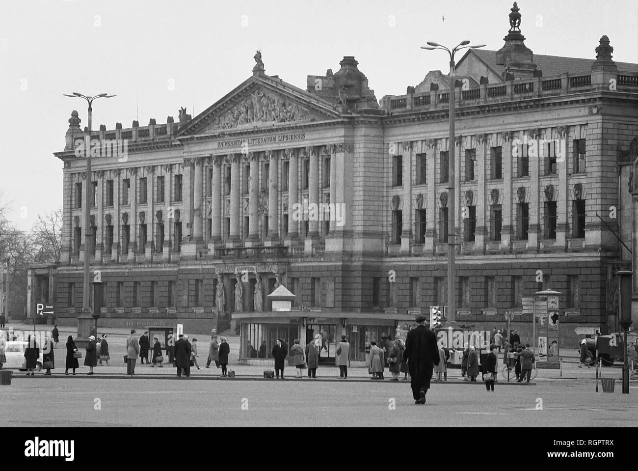 Main building of the university, demolished 1968, 1962, Leipzig, Saxony, GDR, Germany - Stock Image