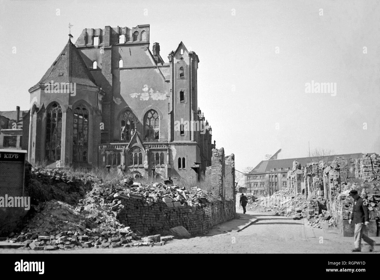 Ruin of the Matthäikirche, demolished 1949, photo from 1948, in the background the main fire station, Große Fleischergasse - Stock Image