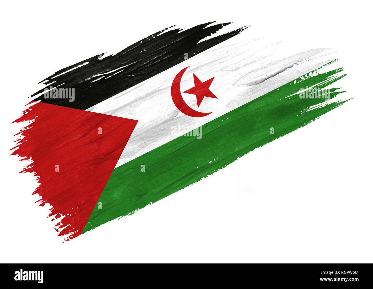 Brush painted Western Sahara flag. Hand drawn style illustration - Stock Image