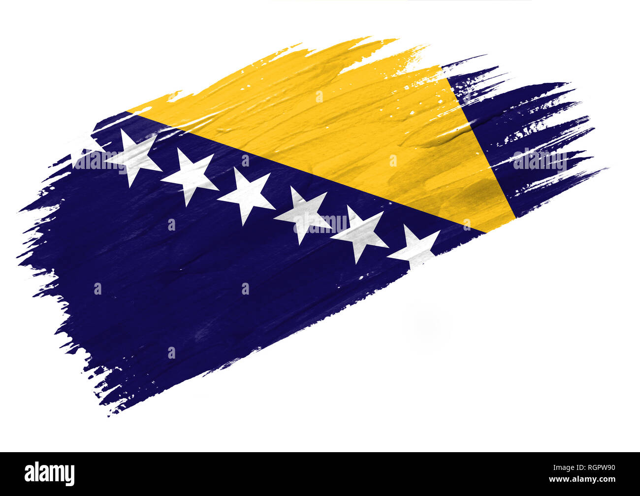 Brush painted Bosnia and Herzegovina flag. Hand drawn style illustration - Stock Image