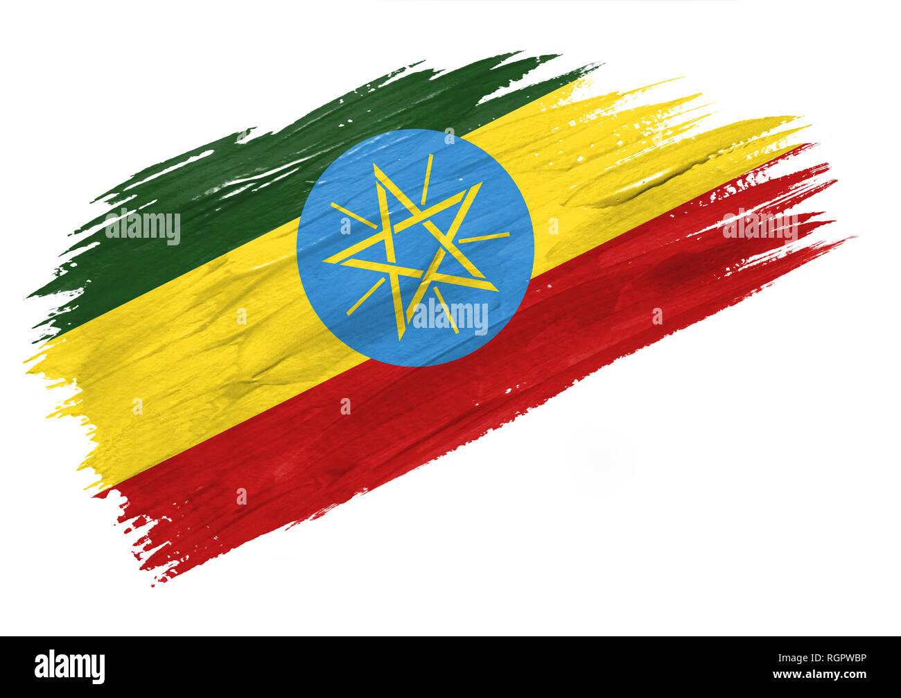 Brush painted Ethiopia flag. Hand drawn style illustration - Stock Image