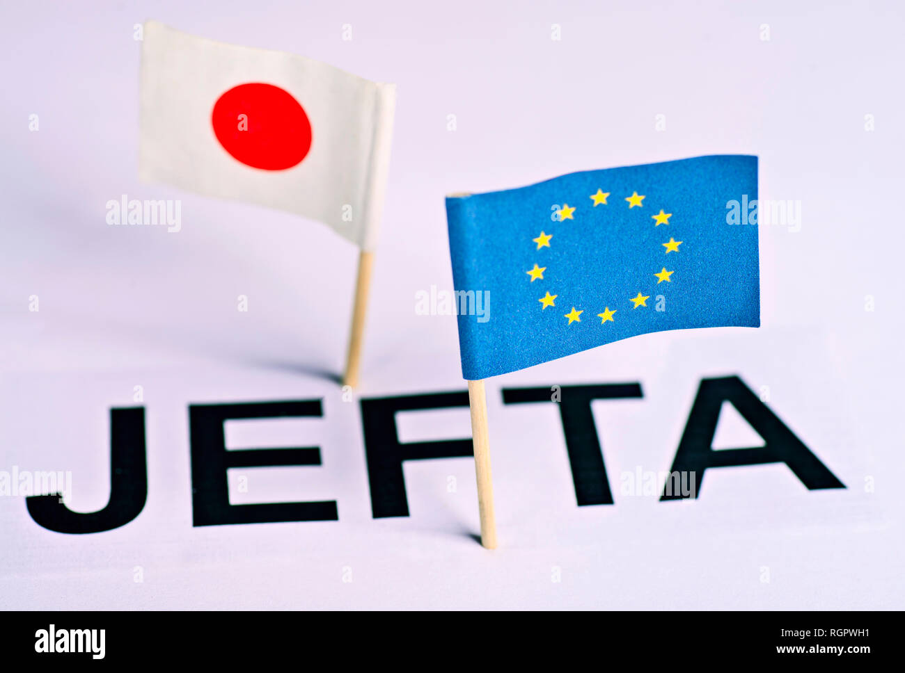 Symbolic picture for the EU-Japan Free Trade Agreement, JEFTA - Stock Image