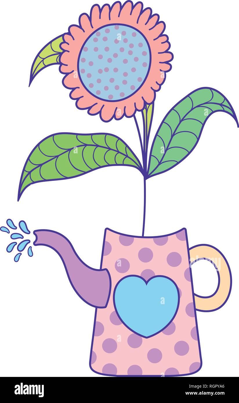 cute gardening sprinkler with flower - Stock Vector
