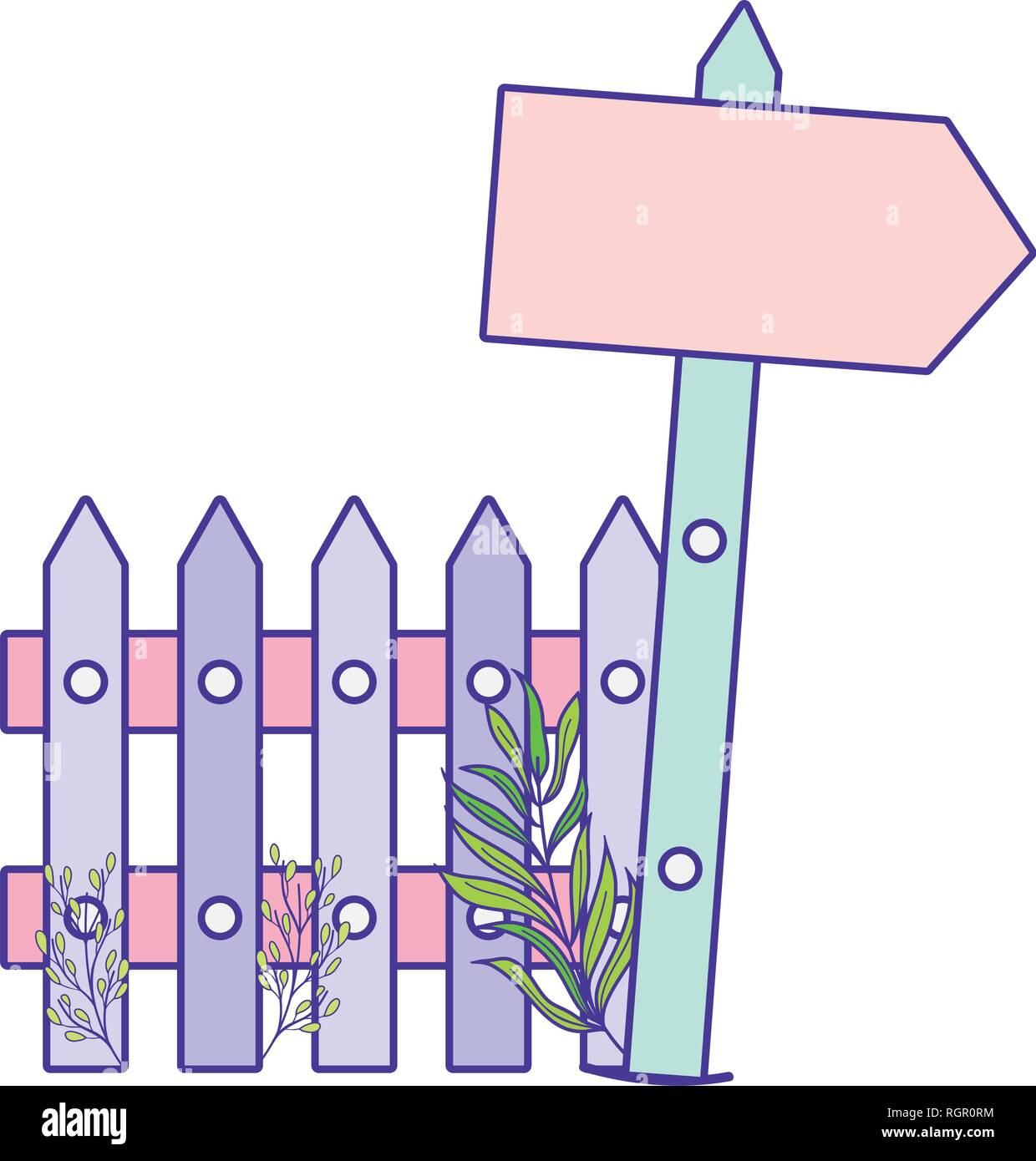 cute arrow guide wooden with fence scene - Stock Vector
