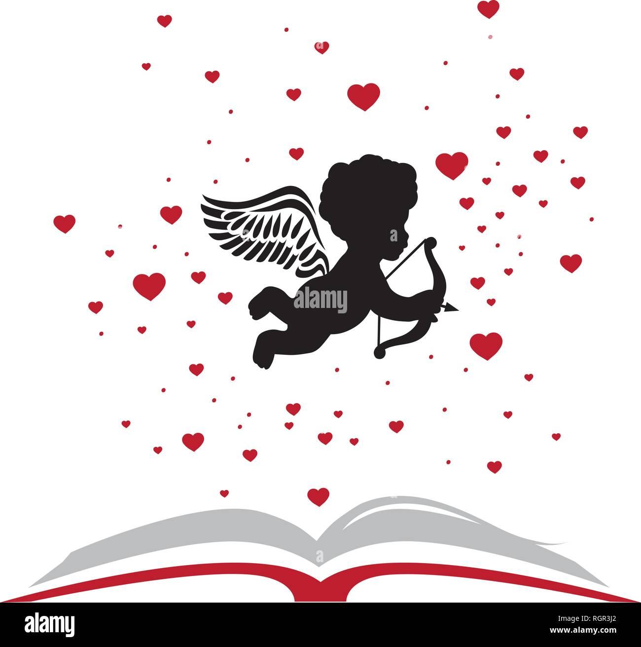 cupid book, logo icon - Stock Image