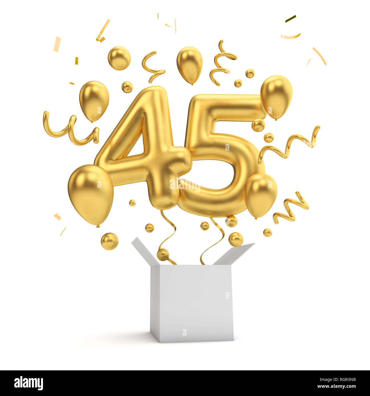 Happy 45th Birthday Gold Surprise Balloon And Box 3D Rendering