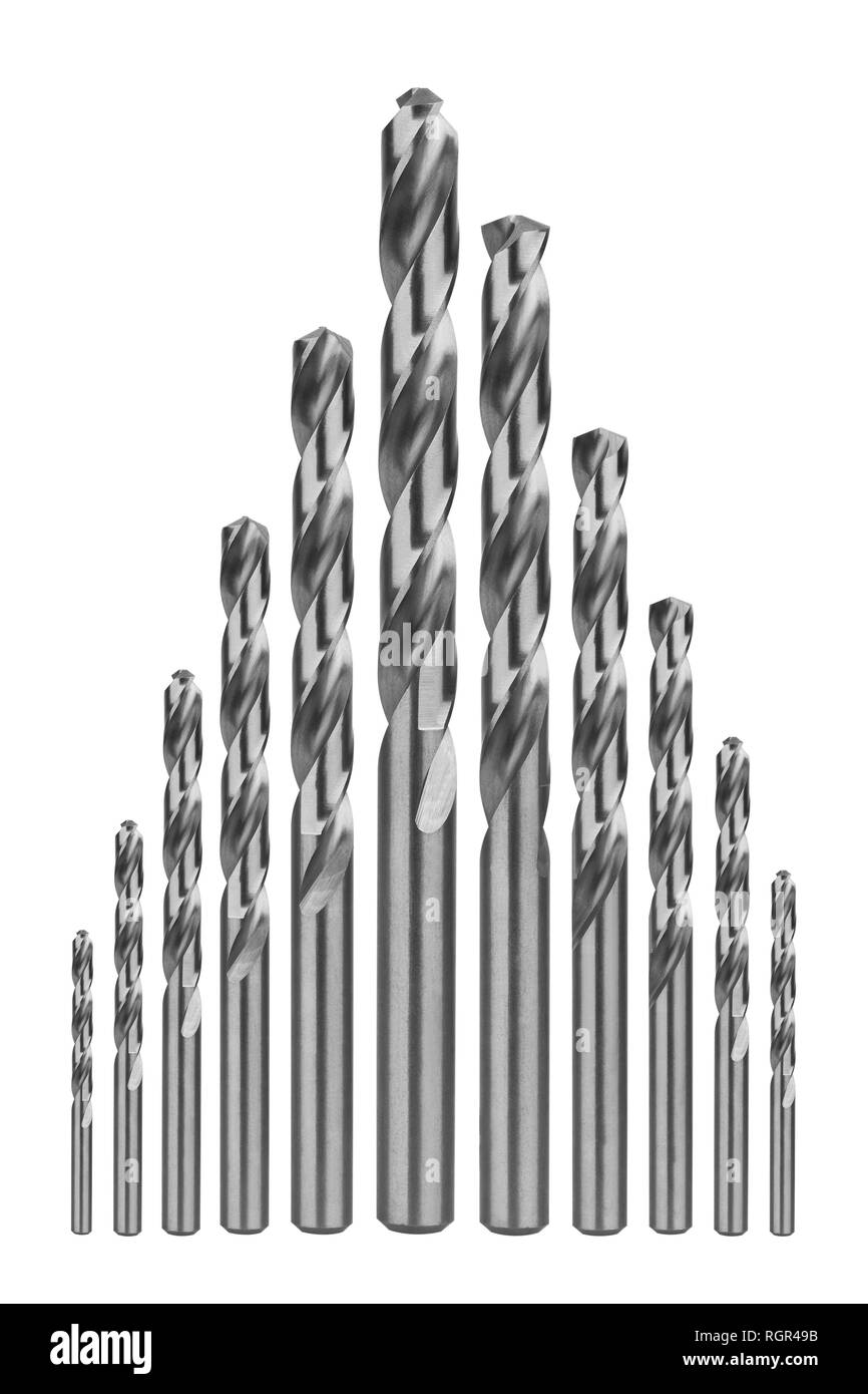 Drill bits of different sizes, isolated on white background - Stock Image